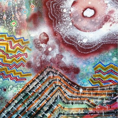 Blasted Summit 24x18 inches mixed media on canvas