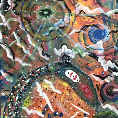 21st Century Mind Eye Tele-Micro Flora Fauna Lightning Egg Travel 66 x 29 inches mixed media on found canvas