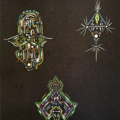 Trio 11 x 8.5 inches colored pencil on paper (2018)